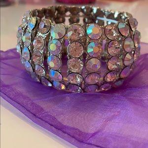 Rhinestone Crystal Cuff Bracelet EUC